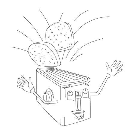 Banner cartoon toaster bake slices of bread Illustration
