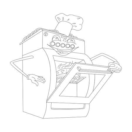 Cartoon sketch of a big oven with a smiling face Illustration