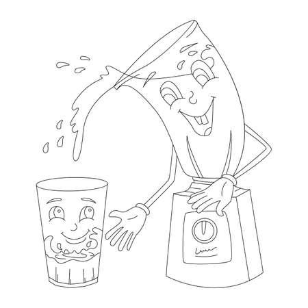 Juicer with face and extra bowl, sketch Ilustração