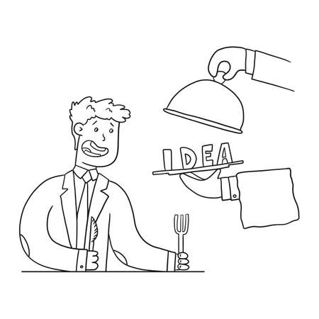 Man in a suit gets an idea on a platter