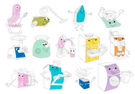 Bright kitchen devices have fun, sketch set. Household tools to help household chores, vector illustration 일러스트