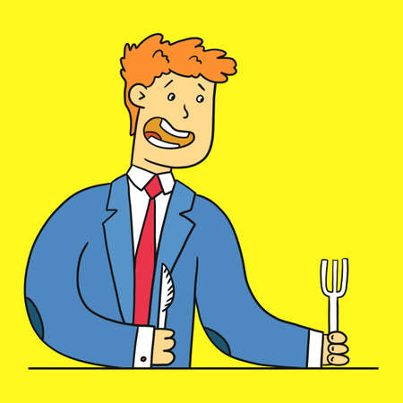 A man in a suit demands food, a fork and a spoon in his hands. Alone Brainstorming Concept