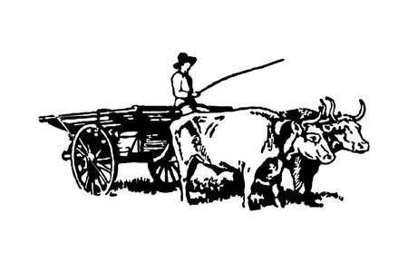 The farmer is riding a cart.