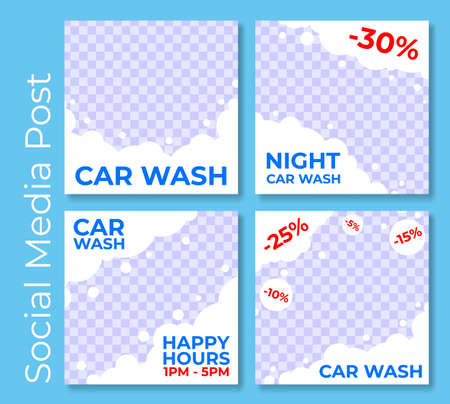 Set advertising creative social media post car wash