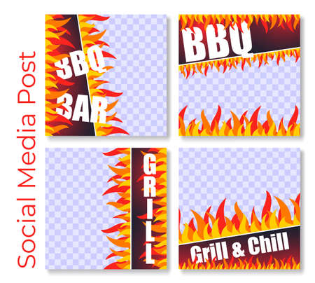 Social media post grill, set vector illustrations