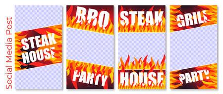 Social media post grill, set advertising creative