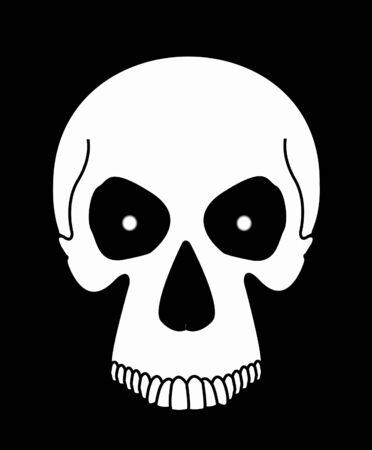 White skull in black background