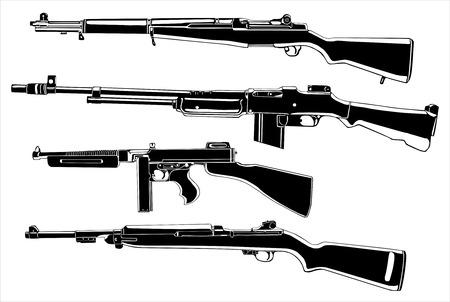 Several guns, old Vector