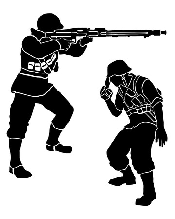 German soldiers, one fights, the other informed Illustration