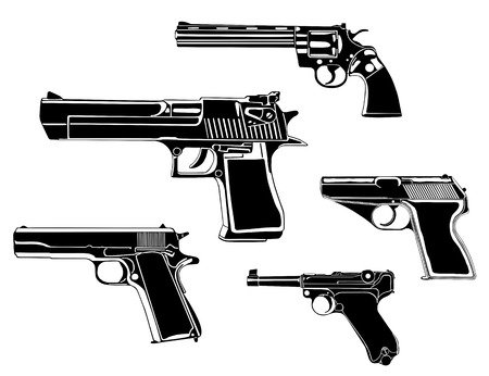 Several guns, old and modern