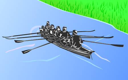 Boat floating in water, recreational ride on a sunny day  Vector