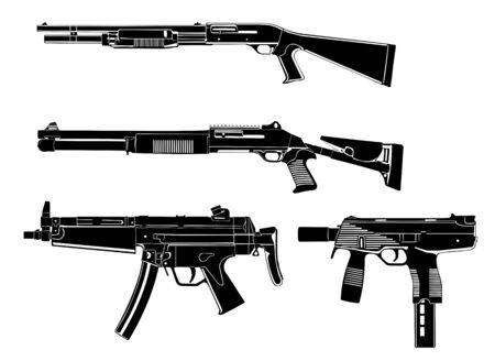 fusil de chasse: plusieurs canons, fusil de chasse, moderne et ancienne Illustration