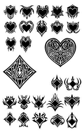 royal flush: Set with more symbols, clubs and hearts
