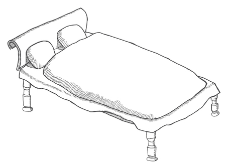 sketched: Draws Bed and sketched Illustration