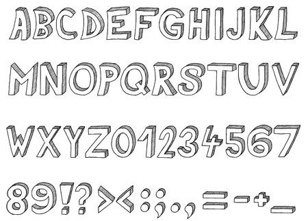 exclamation: Hand drawn abc, alphabet