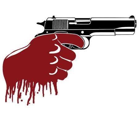 mano pistola: Molti pistola con la mano insanguinata Vettoriali