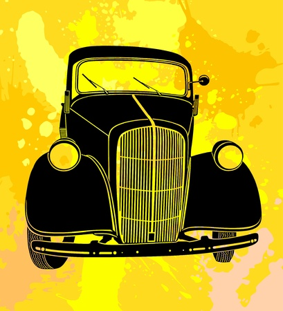 Old car, with retro style background Vector