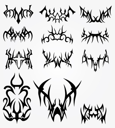 Different symbols, modern, new, full of fantasy, as well as exclusive. All of the vector.
