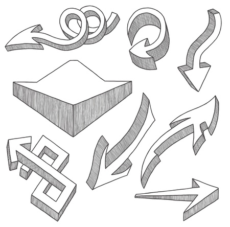 Arrows hand drawn in the set, in the set Stock Vector - 9372454