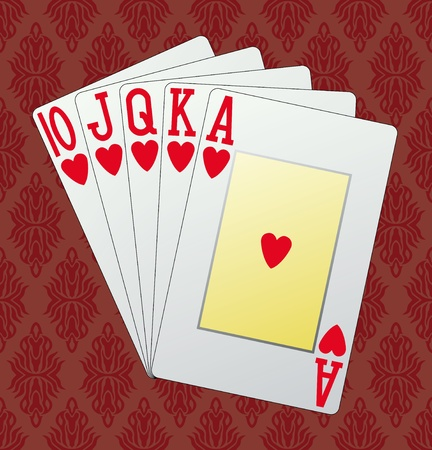 Royal flush, hearts, in the background and in the vector Stock Vector - 10868371