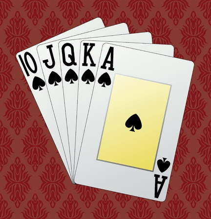 Royal flush, spades, in the background and in the vector Stock Vector - 10868366