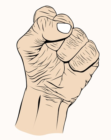 right hand: Hand with symbolic, pain, strength, aggression, power