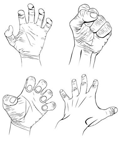 human fist: Set of hands with more emotions Illustration