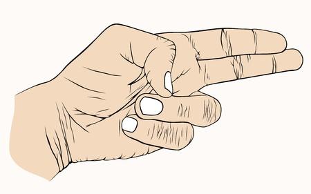 man gun: Hand with symbolic, kill, aggression, order Illustration