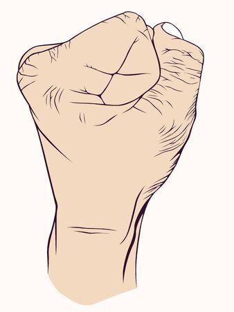 agression: Main avec symbolique, la douleur, la force, l'agressivit�, de puissance