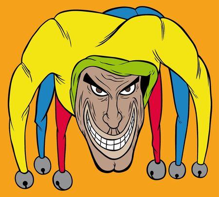 bluff: Joker colorato con sfondo arancione Vettoriali