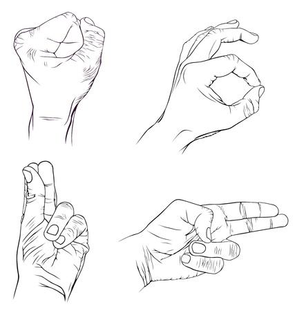 hardness: Set of hands with more emotions Illustration