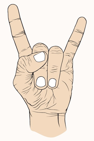 Hand with symbolic, good, rock, music, nice  Vector