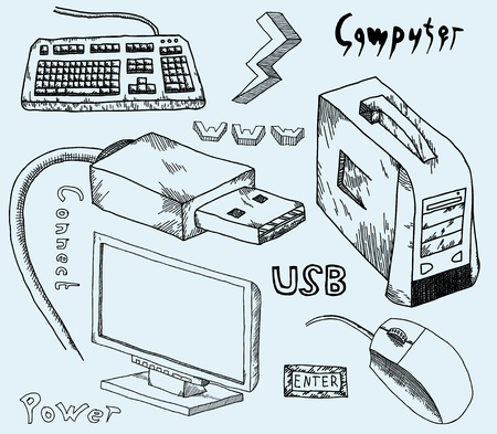 printer drawing: Set of hand-drawn computer accessories