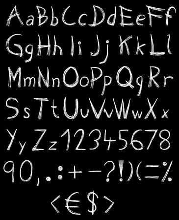 Hand drawn and sketched abc, alphabet Vector