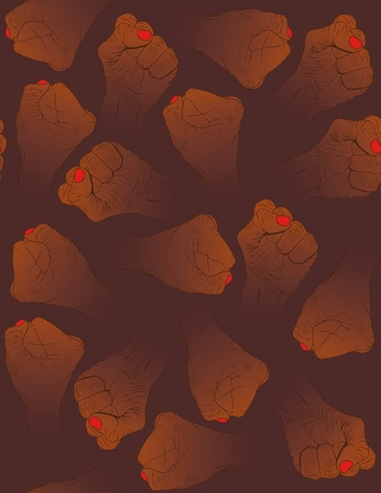 hardness: Hands brown background, texture in the vector Illustration