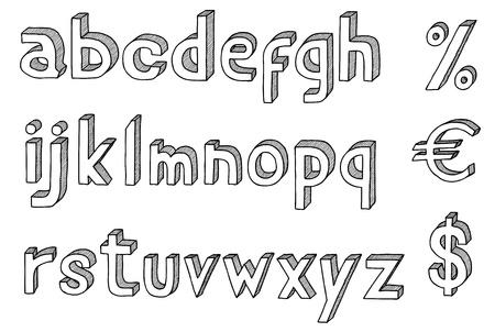 vieze handen: Hand getrokken vector abc, alfabet met dollar en de euro Stock Illustratie