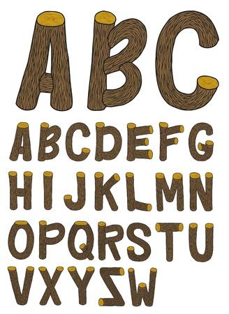 write abc: Mano muy detallado elaborado y esboz� la fuente de madera con corteza, con colores reales Vectores