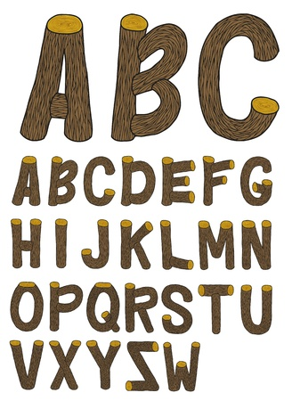 Very detailed hand drawn and sketched wood font with crust, with real colors