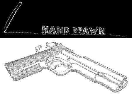 antique pistols: Several gun hand-drawn and sketched. Illustration