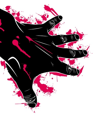 bleeding: Hand in blood, abstraction, vector illustration