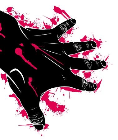 hemorragias: Mano en la sangre, la extracci�n de ilustraci�n vectorial,