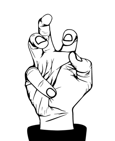 Angry hand, illustration in vector, black and white Illustration