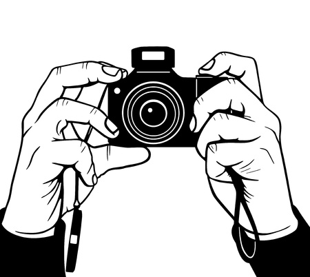 photographing: Hands photography, vector illustration Illustration