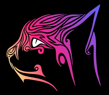Cat in the black background Vector