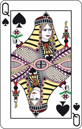 Queen of spades, poker playing card  Vector