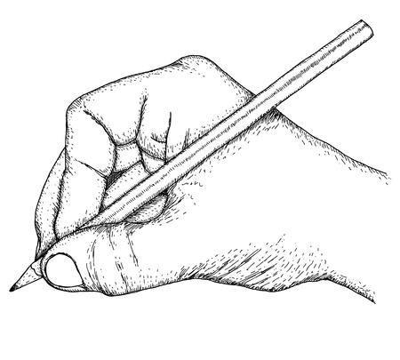 sketch: Hand met potlood Stock Illustratie