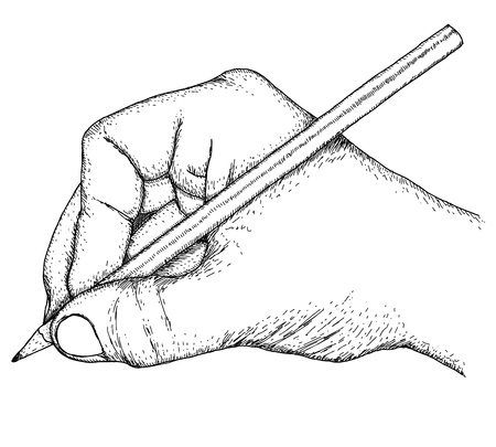 old pencil: Hand with pencil