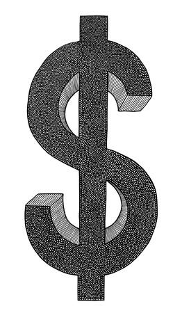 빚: 달러, 손으로 그린, 매우 상세한