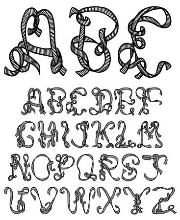 Hand drawn and sketched ribbon font Vector