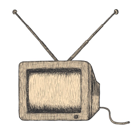 old tv: Hand drawn retro TV, detailed